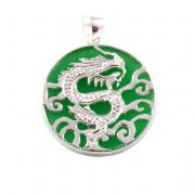 Green Jade & Sterling Silver Chinese Dragon Pendant